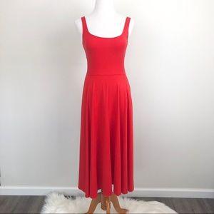 Reformation Lou Midi Fit & Flare Dress Red Orange